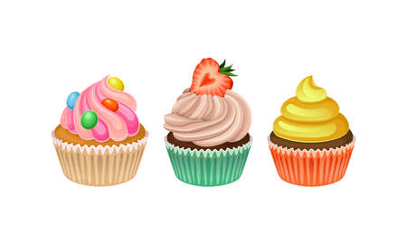 Cupcakes with Whipped Cream and Berry Vector Set