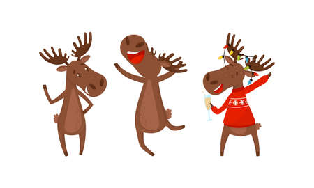 Funny Deer or Moose with Antlers and Hooves Vector Set