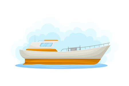 White Luxury Yacht with Cabin as Water Transport Vector Illustration