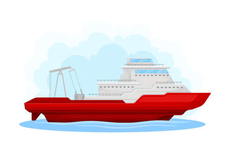 Red Luxury Yacht with Cabin as Water Transport Vector Illustration