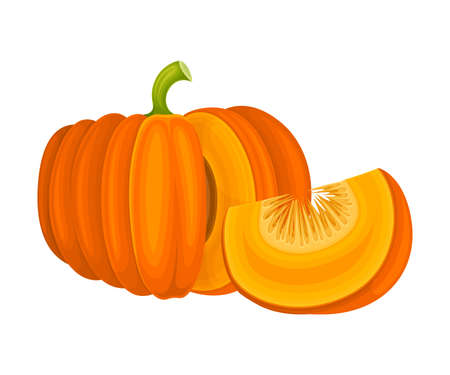 Round Pumpkin with Cut Section Showing Seeds and Pulp Vector Illustration 向量圖像