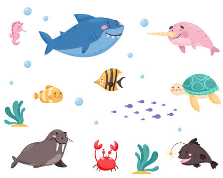 Sea Animals with Shark and Turtle Floating Underwater Vector Set.  イラスト・ベクター素材