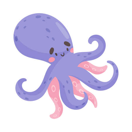 Octopus with Tentacles as Sea Animal Floating Underwater Vector Illustration