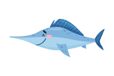 Fish with Side Fins as Sea Animal Floating Underwater Vector Illustration