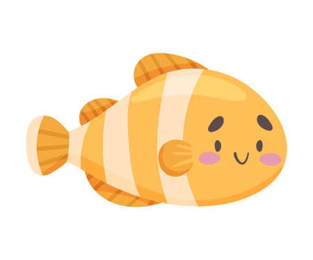 Striped Fish as Sea Animal Floating Underwater Vector Illustration