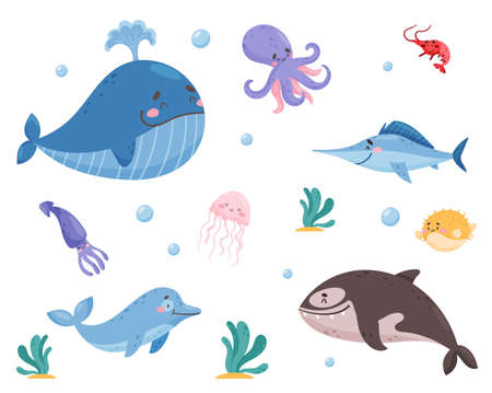 Sea Animals with Whale and Octopus Floating Underwater Vector Set
