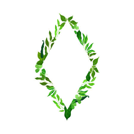 Rhombus Shaped Frame with Green Leaves or Foliage Vector Illustration
