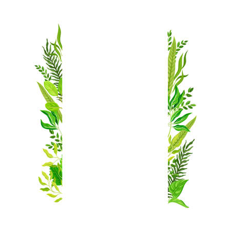 Vertical Border Lines with Green Leaves or Foliage Vector Illustration