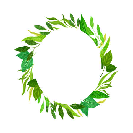 Oval Shaped Frame with Green Leaves or Foliage Vector Illustration