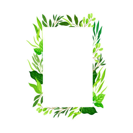 Rectangular Shaped Frame with Green Leaves or Foliage Vector Illustration