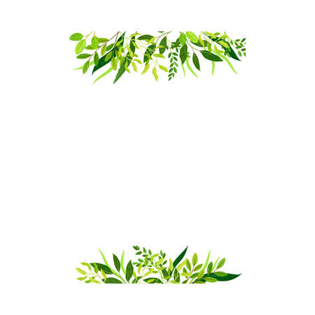 Horizontal Border Lines with Green Leaves or Foliage Vector Illustration Vettoriali