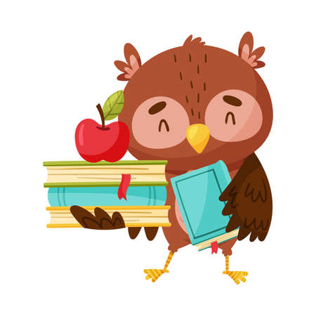 Cute Owl Carrying Pile of Books Vector Illustration