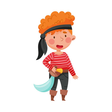 Cheerful Boy in Pirate Costume with Tied Bandana and Sword Vector Illustration 向量圖像