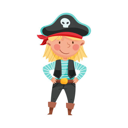 Cute Boy Standing in Pirate Costume and Hat with Skull Vector Illustration