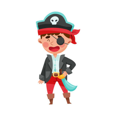 Cute Boy in Pirate Costume Standing with Tied Bandana and Sword Vector Illustration