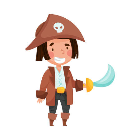 Cute Boy in Pirate Costume Standing with Sword and Hat with Skull Vector Illustration