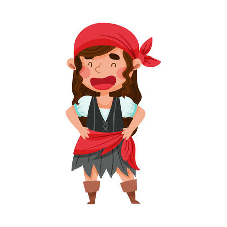 Smiling Girl in Pirate Costume with Tied Bandana Vector Illustration