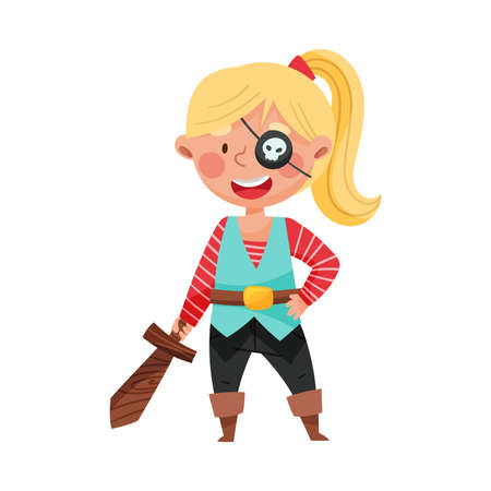 Funny Girl Standing in Pirate Costume and Wooden Sword Vector Illustration