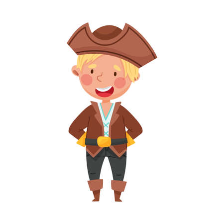 Playful Kid Standing in Pirate Costume Wearing Hat Vector Illustration