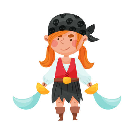 Cute Girl in Pirate Costume with Tied Bandana and Sword Vector Illustration