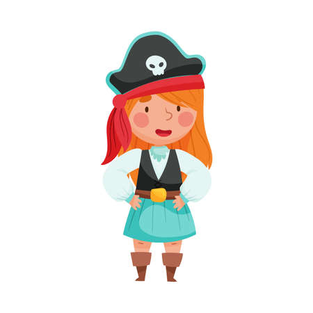 Cheerful Girl in Pirate Costume Wearing Hat with Skull Vector Illustration