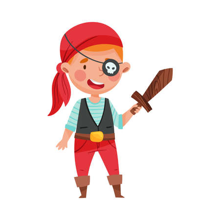 Funny Boy Standing in Pirate Costume and Wooden Sword Vector Illustration