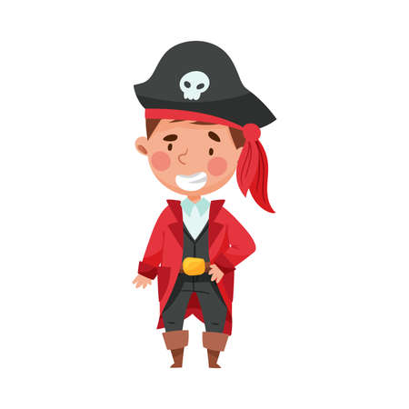 Smiling Boy in Pirate Costume Wearing Hat with Skull Vector Illustration