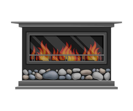 Electric Fireplace or Hearth Made of Stone with Mantelpiece and Burning Fire Vector Illustration