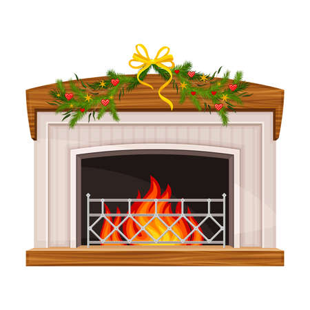 Hearth or Fireplace Decorated with Fir Tree Branch and Burning Fire Vector Illustration