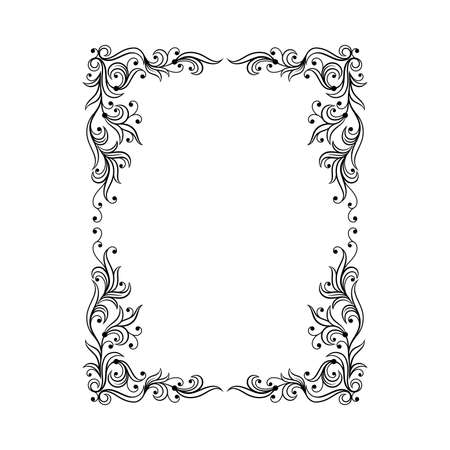 Black Ornate Frame with Filigree Swirls Vector Clipart