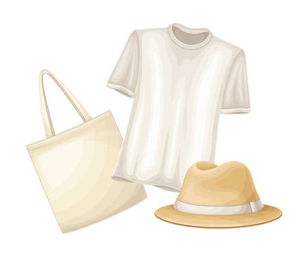 Clothing Items with Bag and Hat Made of Hemp Vector Illustration