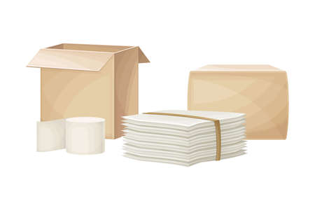 Cardboard Boxes and Pile of Paper Made of Hemp Vector Illustration