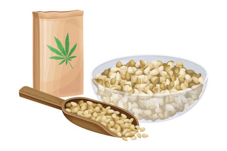 Hemp Seeds in Wooden Scoop and Bowl with Craft Paper Package Vector Illustration 矢量图像