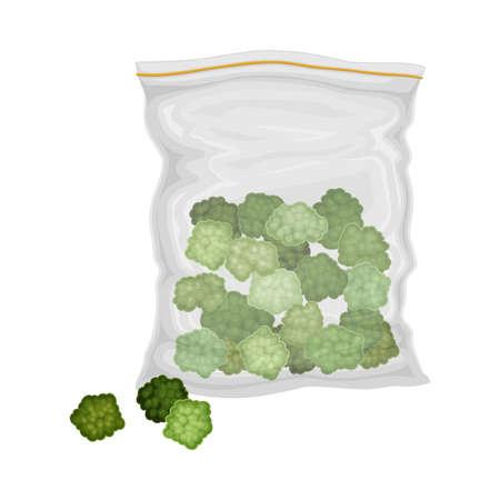 Green Hemp or Cannabis Sativa in Plastic Package Vector Illustration