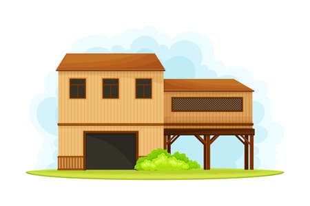 Timbered Rural House as Barn or Granary Vector Illustration Vecteurs