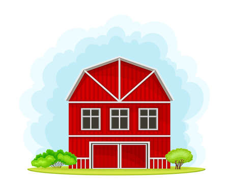 Timbered Red Barn or Granary for Crop Storage Vector Illustration Illustration