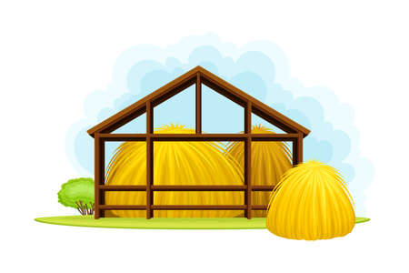 Pile of Dry Hay Under Wooden Shed as Crop Harvesting Vector Illustration Vetores