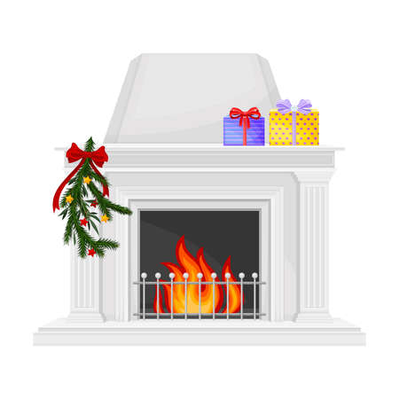 Hearth or Fireplace Decorated with Fir Tree Branch and Burning Fire Vector Illustration Vector Illustratie