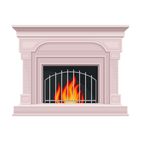 Stone Fireplace or Hearth with Mantelpiece and Burning Fire Vector Illustration