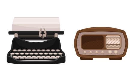 Retro Vintage Household Appliances with Typewriter and Radio Vector Set