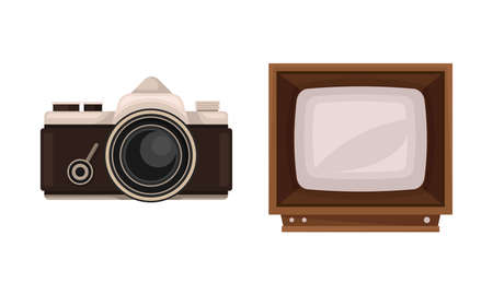 Retro Vintage Household Appliances with Camera and TV set Vector Set