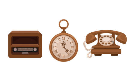 Retro Vintage Household Appliances with Phone and Radio Vector Set