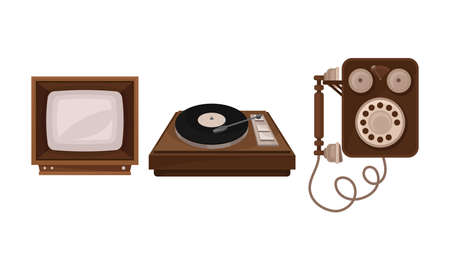 Retro Vintage Household Appliances with Record Player and Television Vector Set 矢量图像