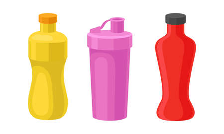 Water Bottle as Container for Holding Liquids for Consumption Vector Set