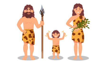 People Characters from Stone Age Wearing Animal Skin and Holding Spear Vector Illustration Set