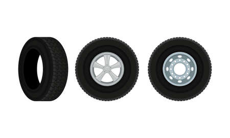 Tire or Tyre as Ring-shaped Component of Wheel Rim Vector Set Vettoriali