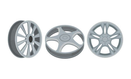 Chromed Wheel Rim as Ring-shaped Component Holding the Tire of Car Vector Set