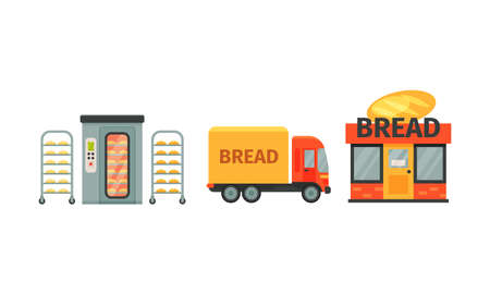 Rack with Loaf of Freshly Baked Bread and Bakery Shop Vector Set