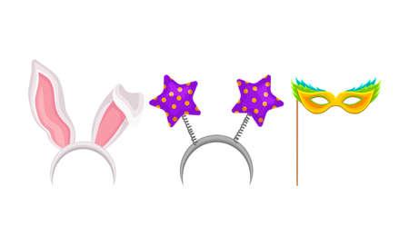 Headband with Long Bunny Ears and Eye Mask Vector Set