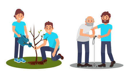 People Characters Planting Seedling and Helping Senior Vector Illustration Set